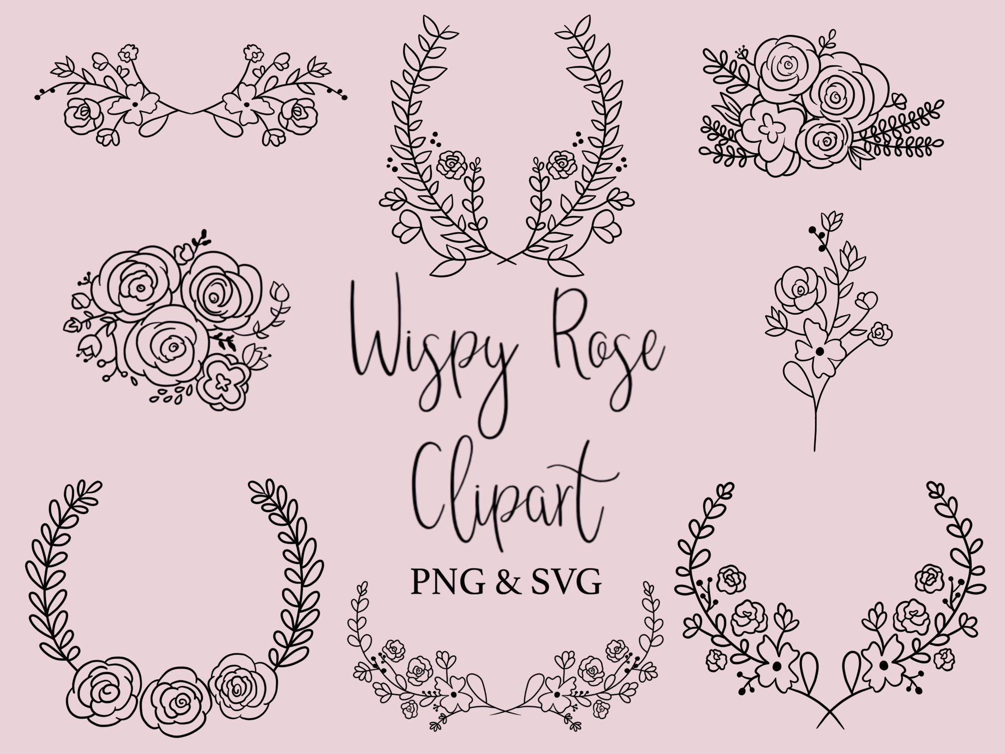Clipart roses doodle. Wispy rose hand drawn