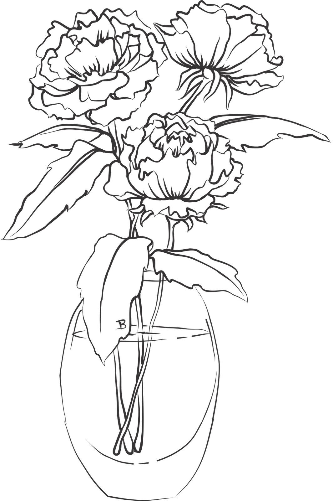 collection of vase. Clipart roses drawn