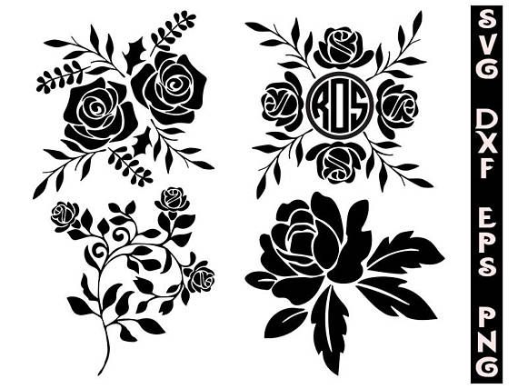 Clipart roses file. Silhouette svg flowers cut
