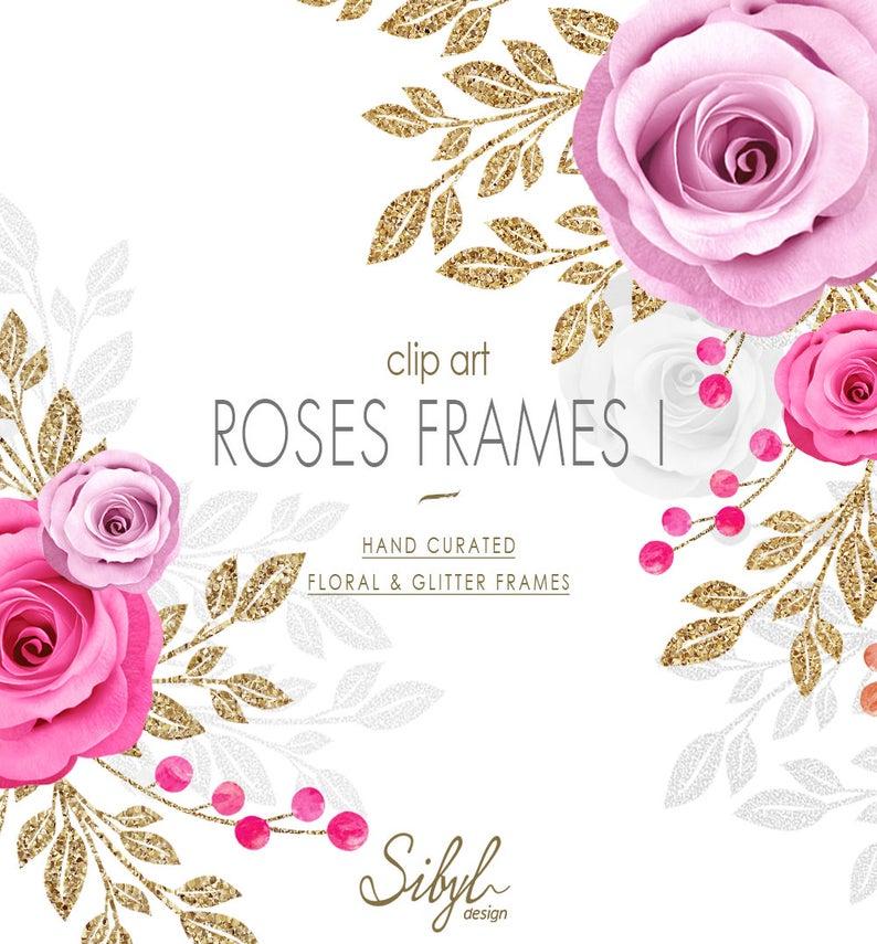 Clipart roses frame. Floral set pink frames