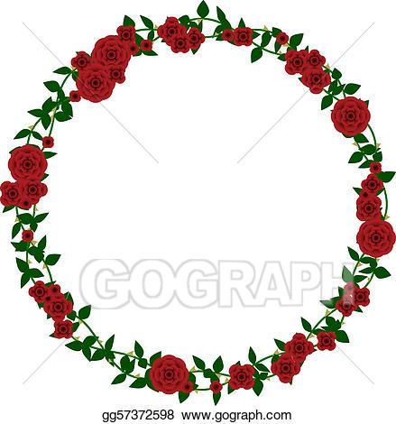 Clipart roses frame. Vector art rose drawing
