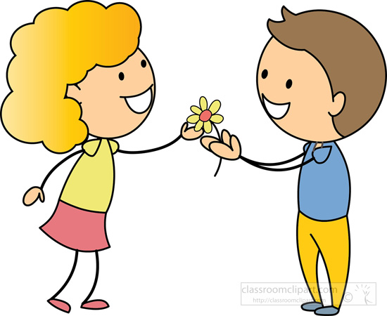 Free girl flowers cliparts. Clipart roses giving
