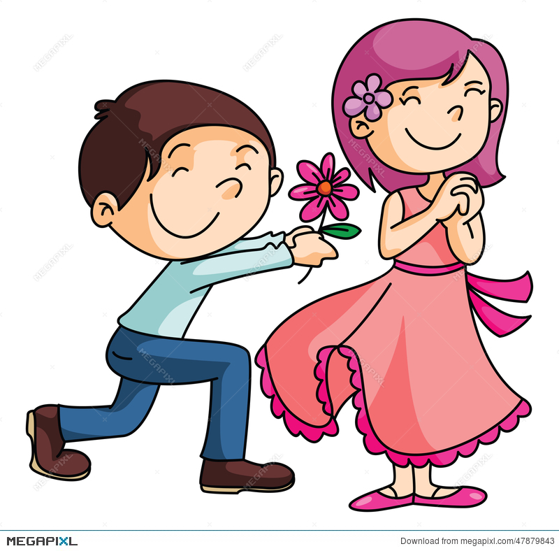 Clipart roses giving. Boy gives a rose