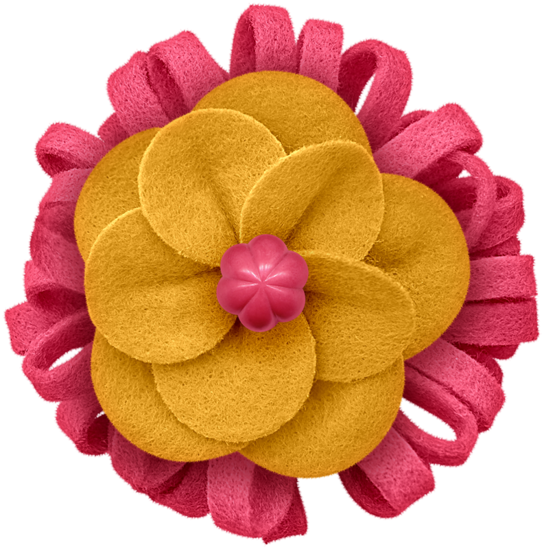 Flower felt pinkyellow png. Clipart roses headband