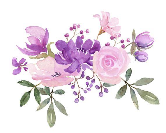 Fresh springtime flowers in. Clipart roses lavendar