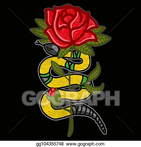 Vector illustration gold with. Clipart roses snake