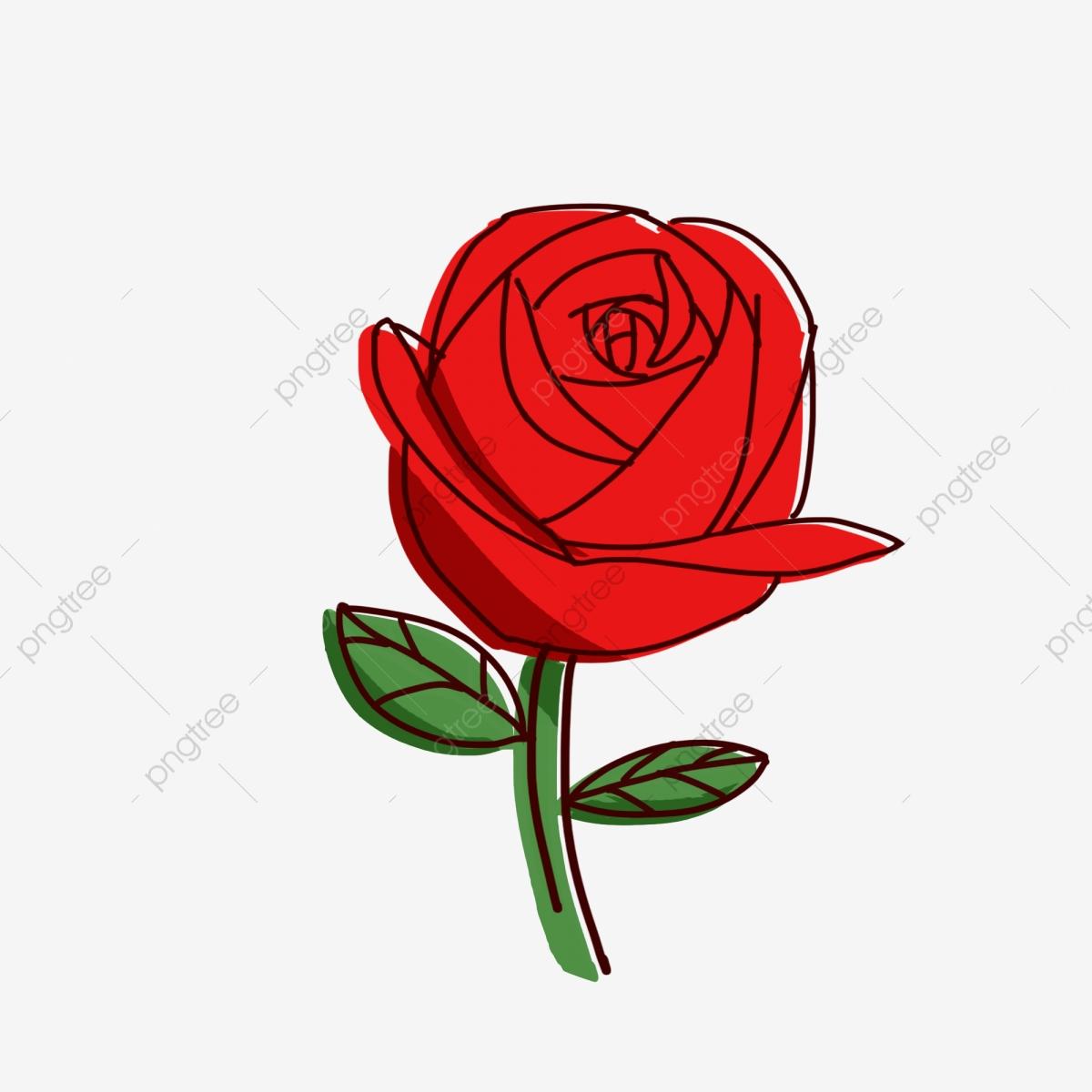 Clipart roses stick. Hand drawn cartoon figure