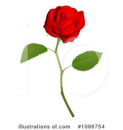 Red rose illustration by. Clipart roses stick