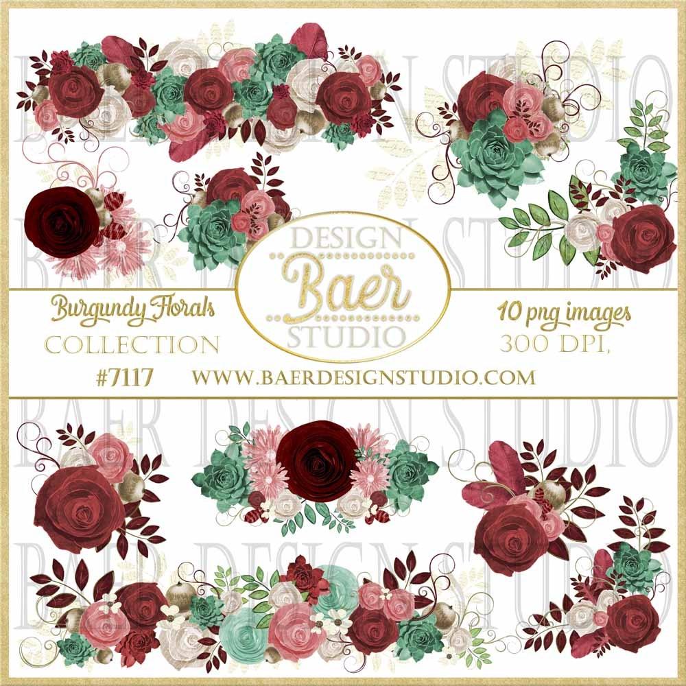 Clipart roses succulent. Burgundy digital clip art