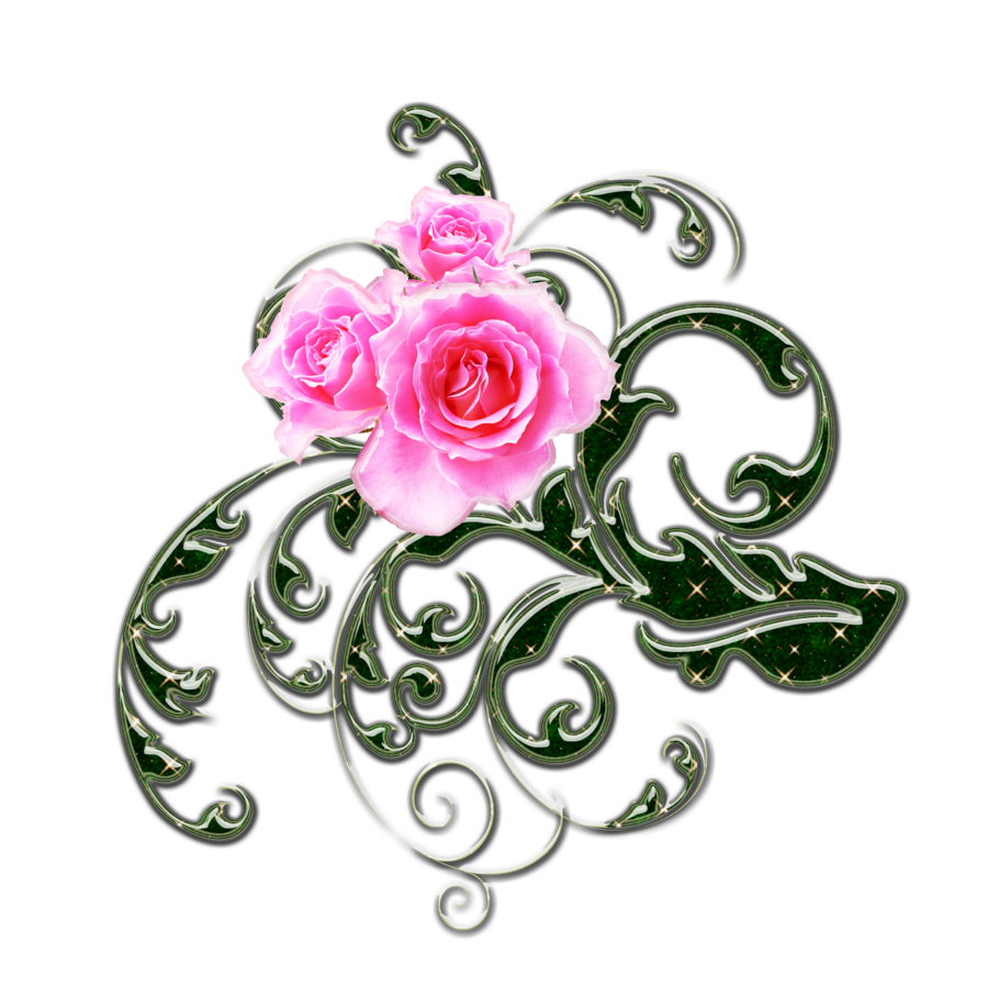 Clipart roses swirl. Pink and green swirls