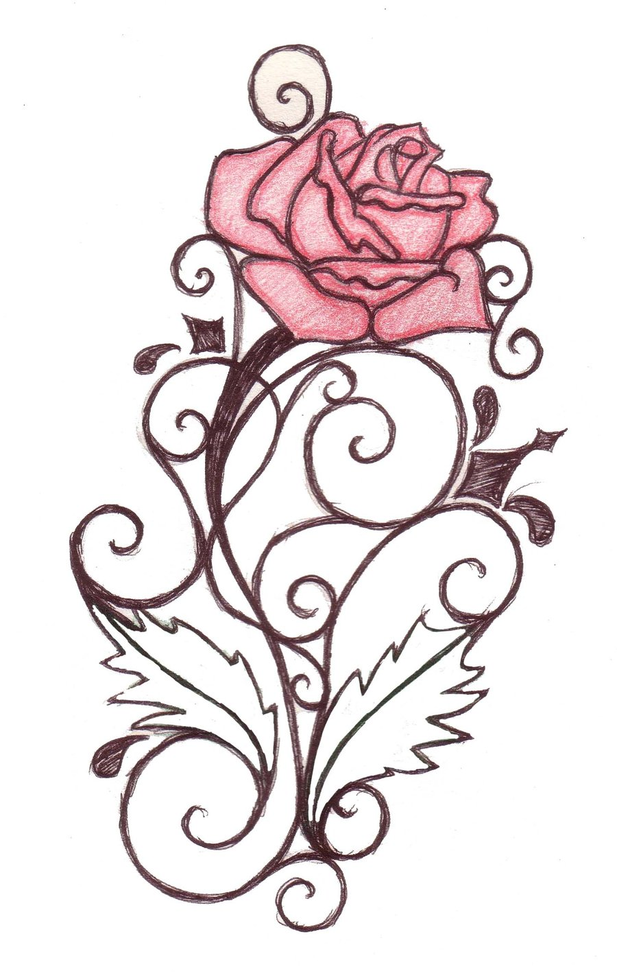 Clipart roses swirl. Rose tattoo designs free
