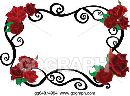 Vector illustration elegant frame. Clipart roses swirl