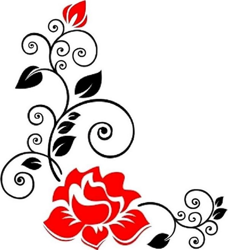 Clipart roses swirl. Red black with swirls