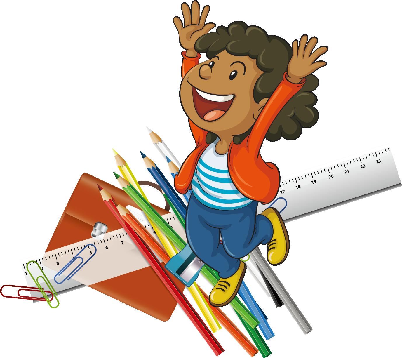 Cartoon drawing illustration pencil. Clipart ruler animated
