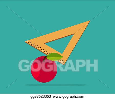 Clipart ruler apple. Eps illustration red with