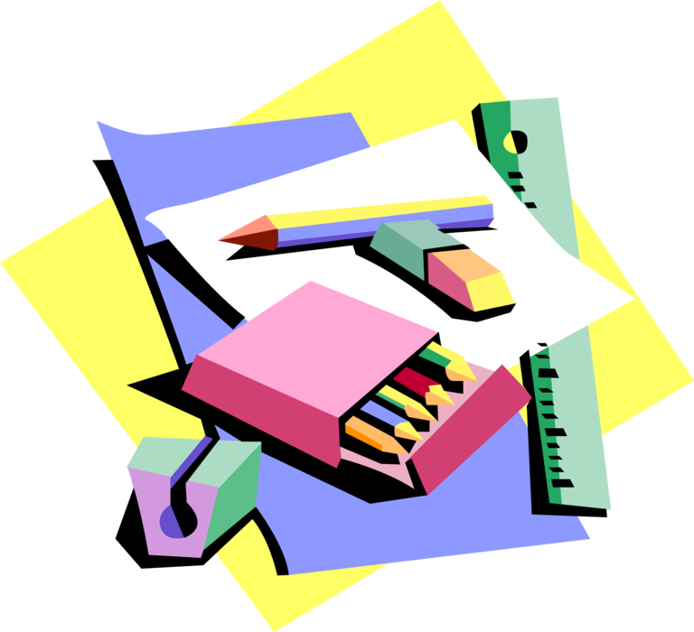 Eraser clipart classroom. Colored pencils with and