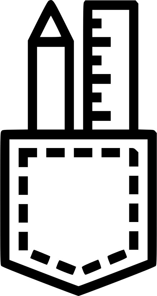 Pencil pocket design creation. Clipart ruler drawing