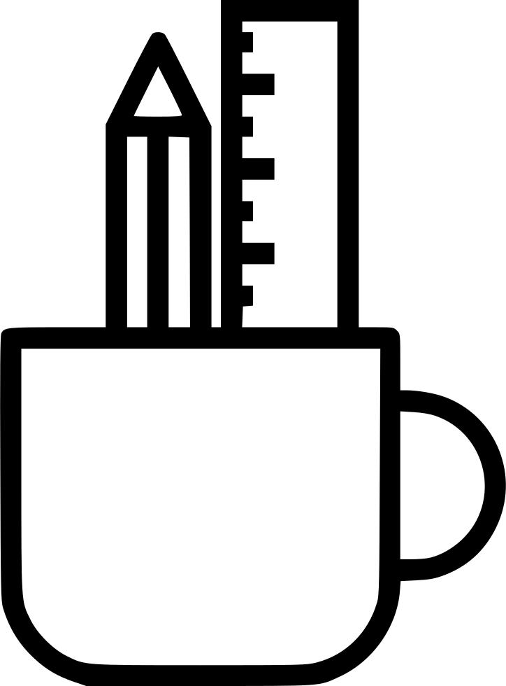 Clipart ruler drawing. Pencil mug holder design
