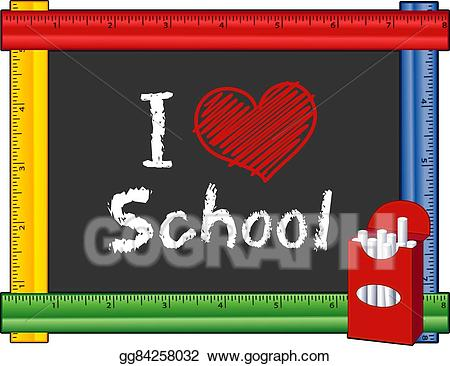Vector illustration i love. Clipart ruler kindergarten