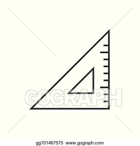 Vector art triangle outline. Clipart ruler rectangle