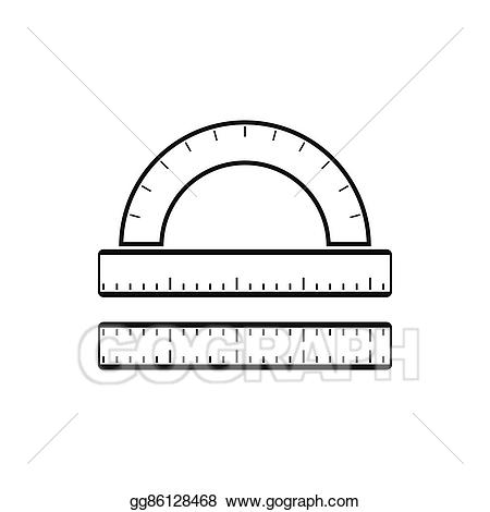 Clipart ruler simple. Vector stock and protractor