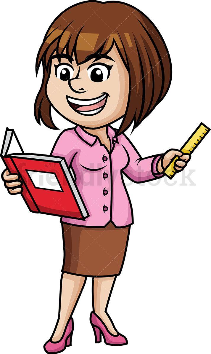 Woman teaching space bible. Clipart ruler teacher