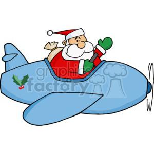 A golly flying blue. Santa clipart airplane