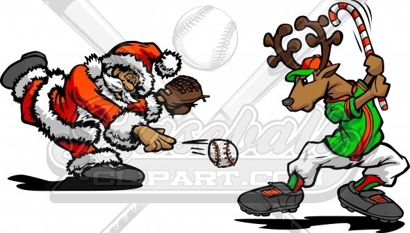 Holiday vector image . Santa clipart baseball
