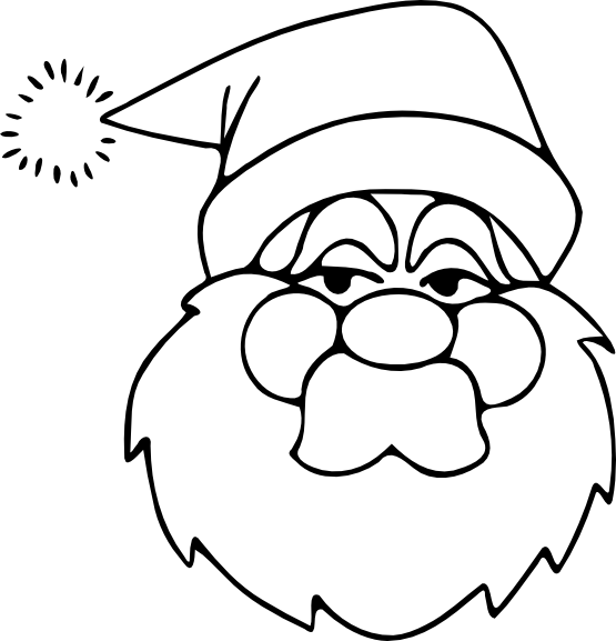 clipartist.net » Clip Art » santa black white xmas christmas SVG