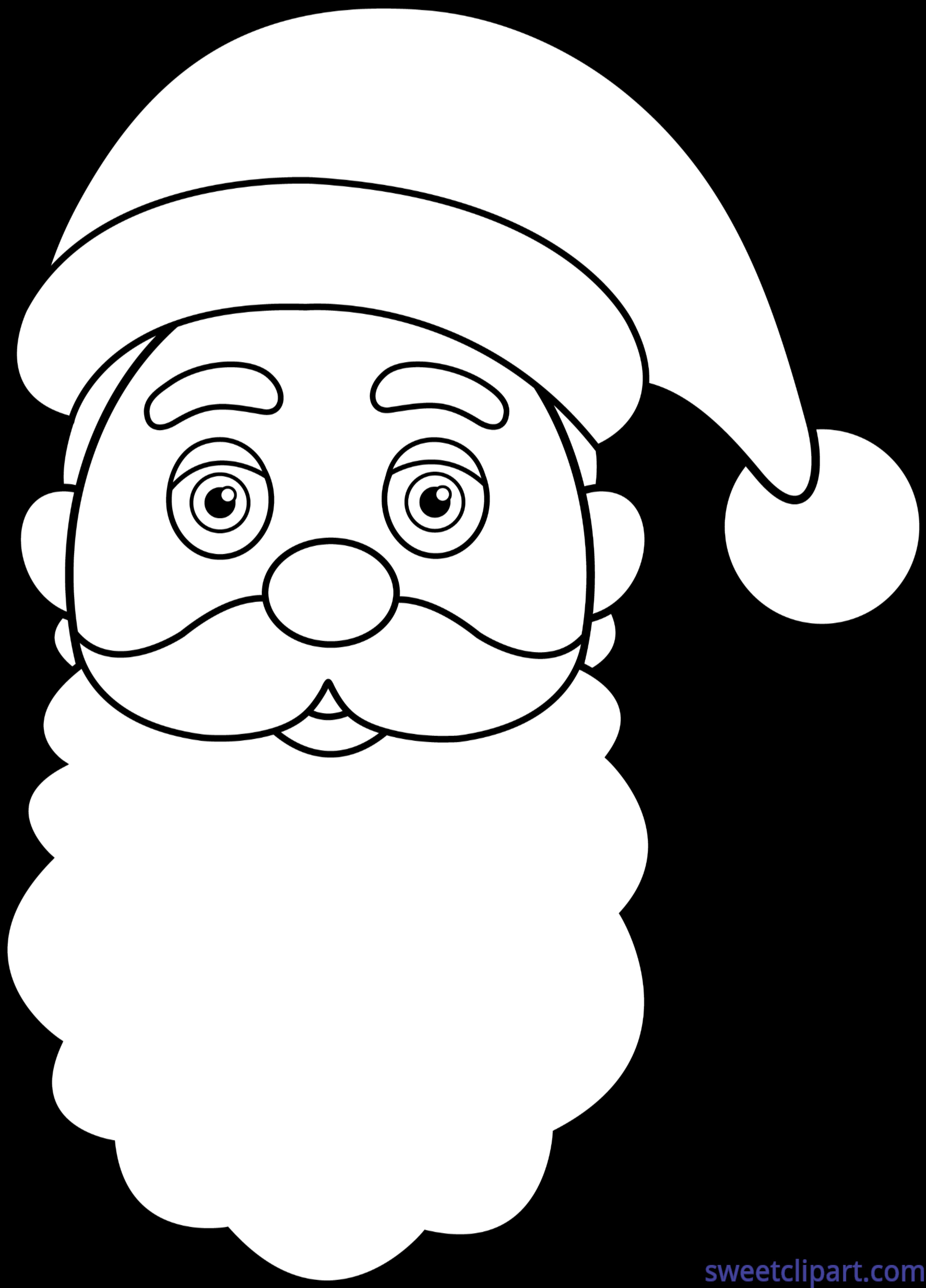 Lineart clip art sweet. Face clipart santa claus