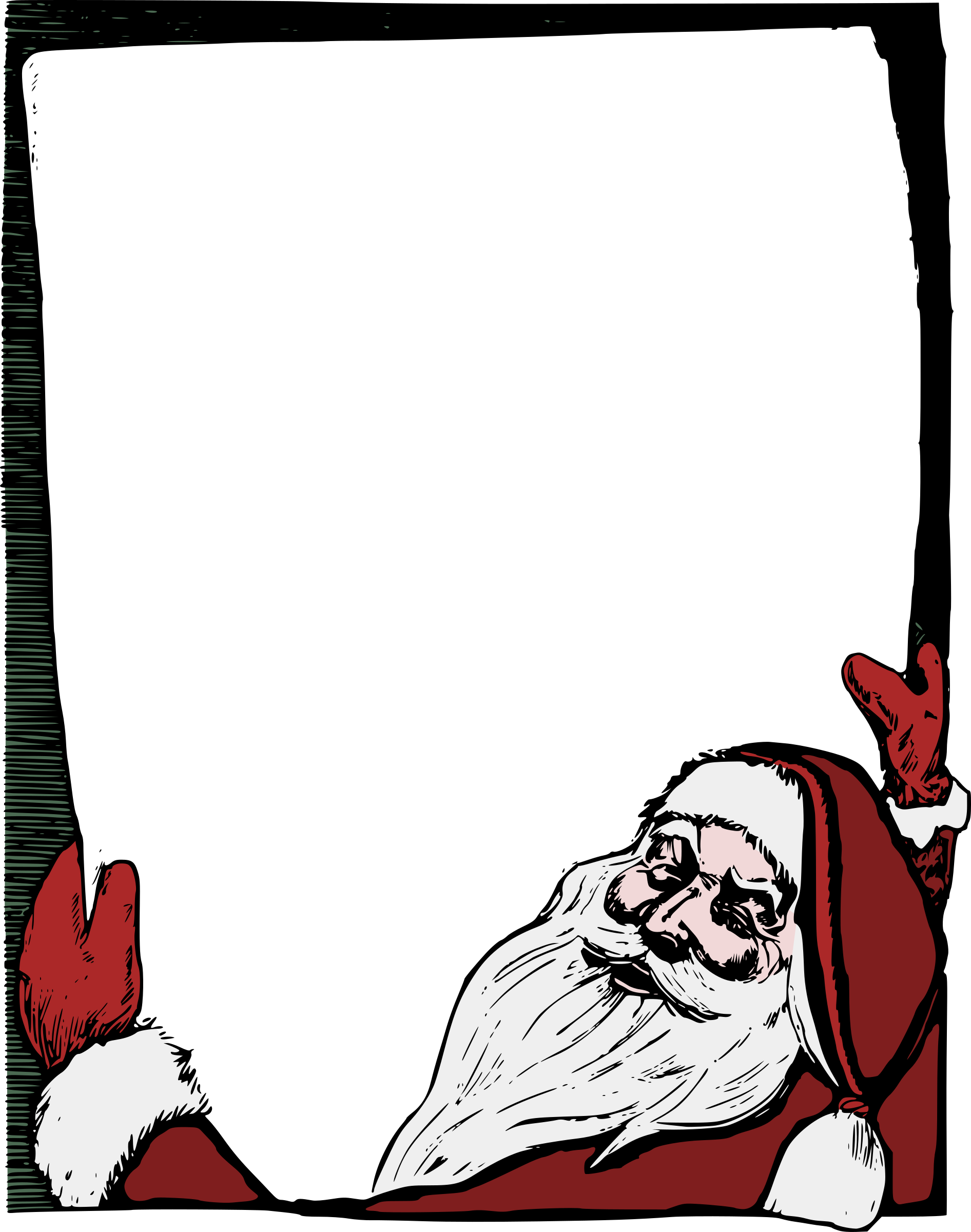 Santa colour big image. Holiday clipart picture frame