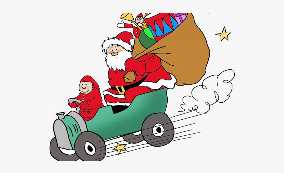 Drawn claus png free. Santa clipart car