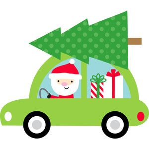 Santa clipart car. In here comes silhouette