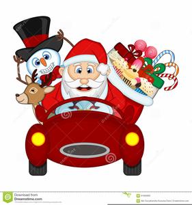Driving a free images. Santa clipart car