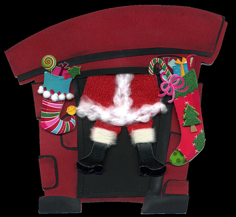clipart santa chimney