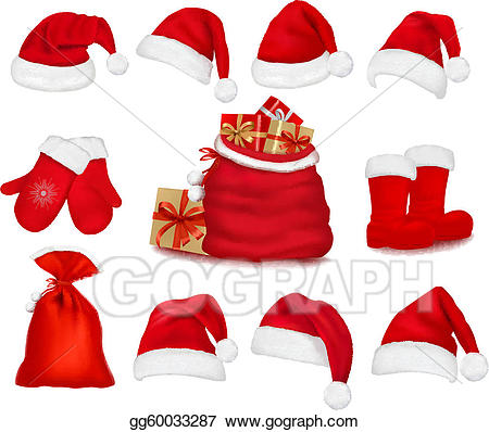 Clipart santa clothes. Eps illustration big set