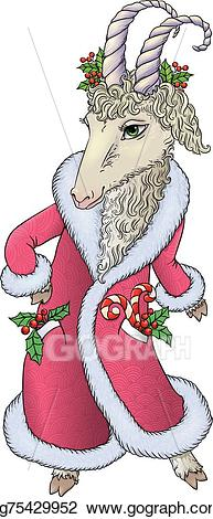Clipart santa coat. Eps illustration goat in