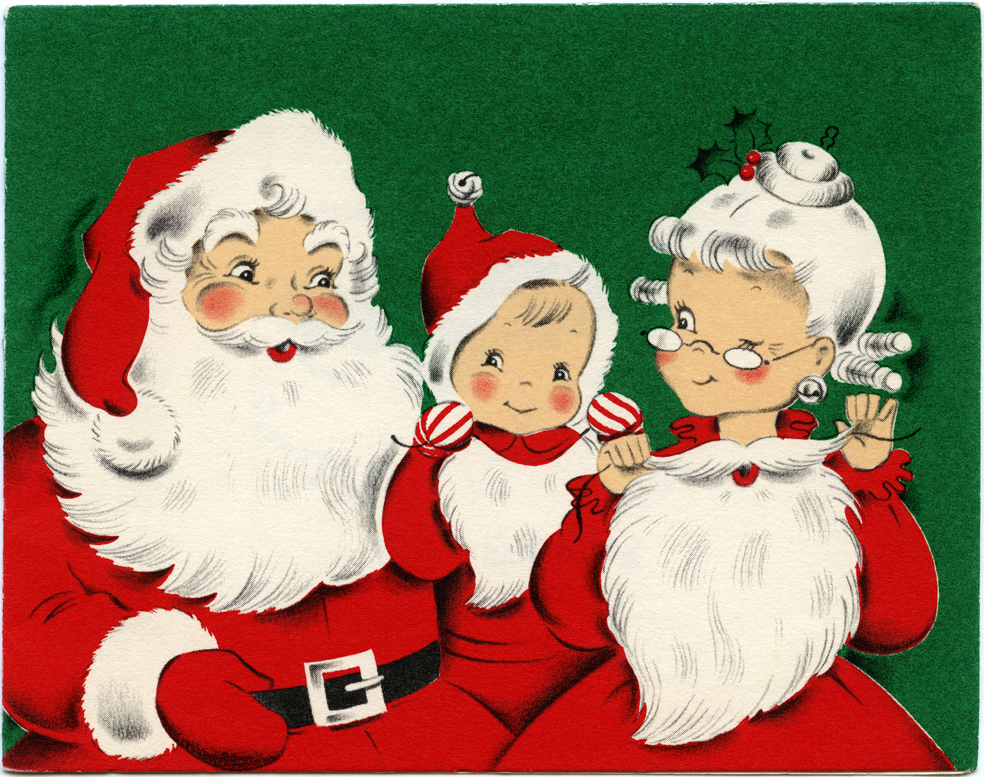 Vintage christmas greeting card. Santa clipart family