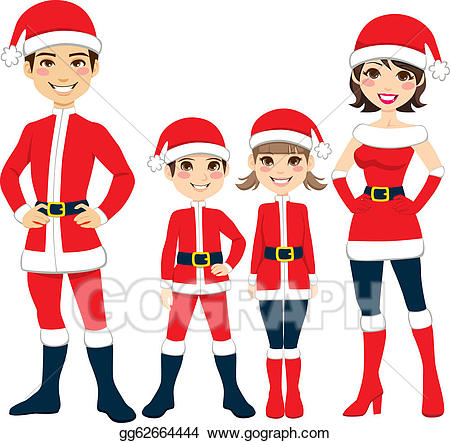 Santa clipart family. Vector illustration claus eps