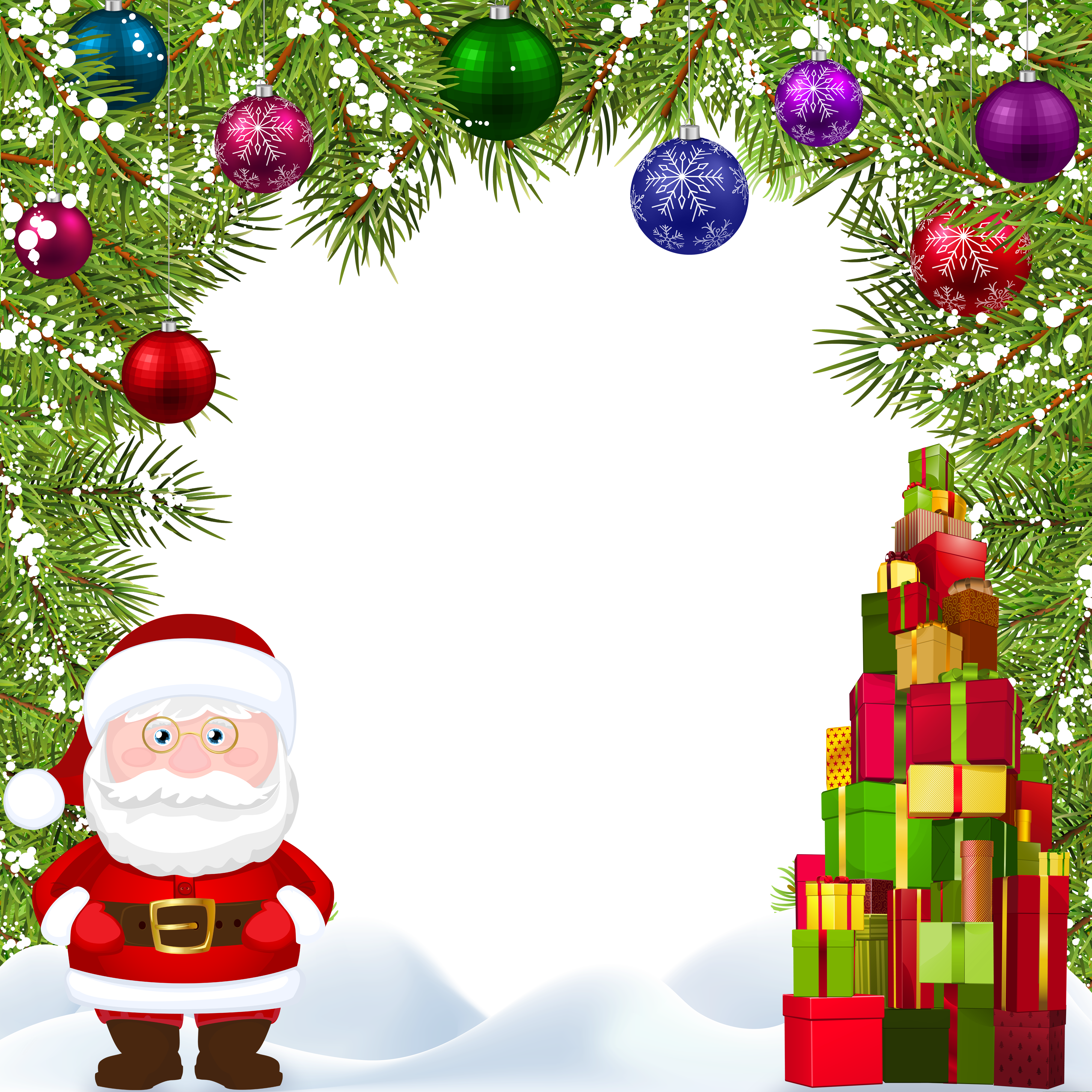 Christmas frame with santa. Holidays clipart branch