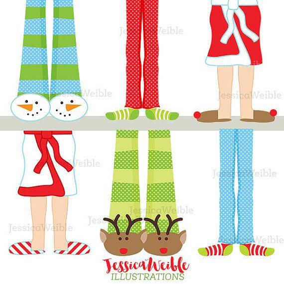 Christmas pajama feet cute. Pajamas clipart santa