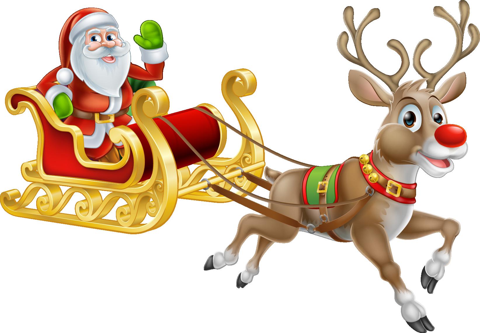 Rudolph santa claus reindeer. Sleigh clipart deer