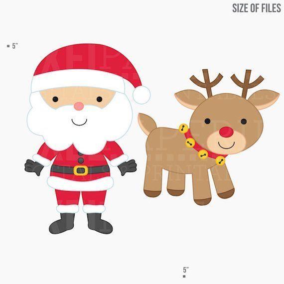 Christmas digital clip art. Clipart santa rudolph