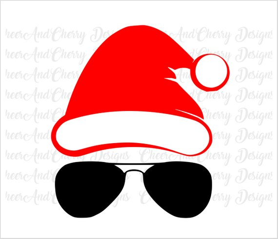 Sunglasses clipart santa. Face with glasses svg