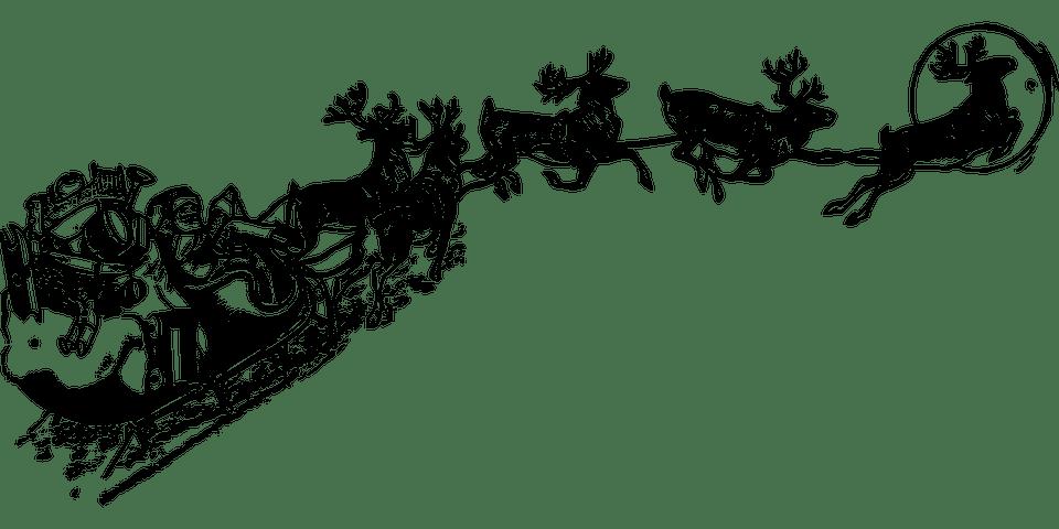 Santa claus transparent png. Sleigh clipart vector