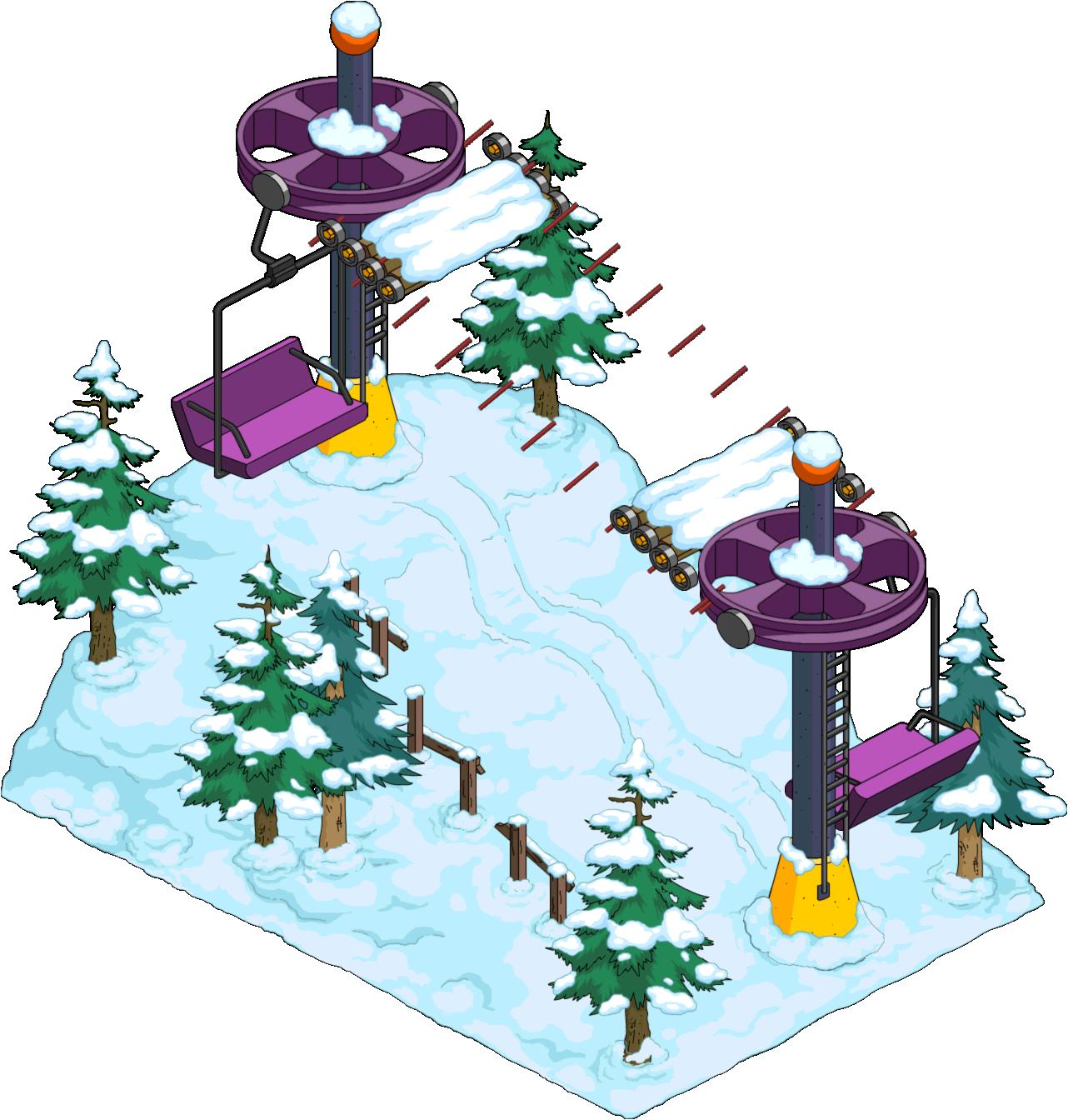 Ski lift the simpsons. Mailbox clipart winter