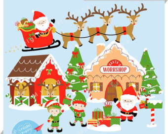 Clipart santa workshop. Free cliparts download clip