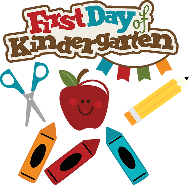 First day of svg. Crayons clipart kindergarten