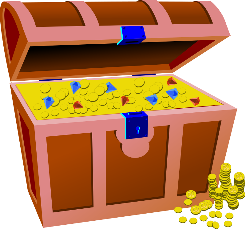 Full treasure chest theme. Pirate clipart money