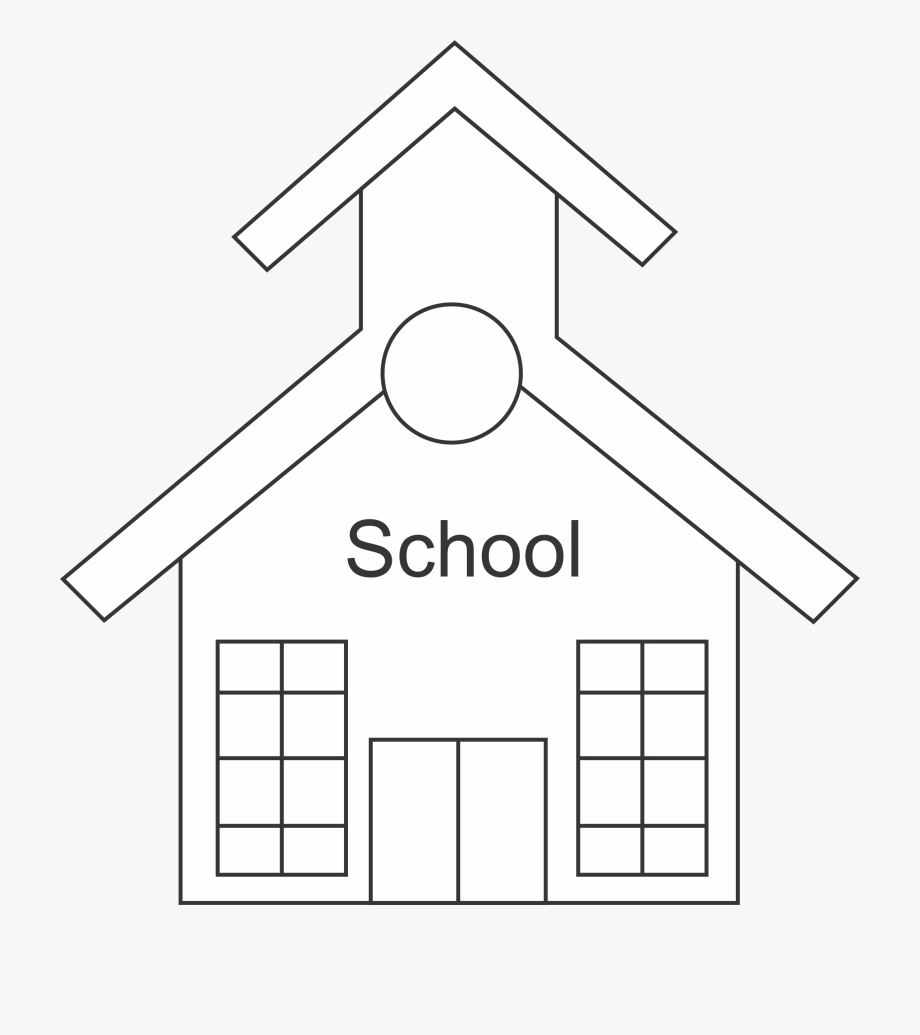 Outline clipart school. House blank template